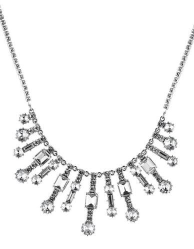Carolee Crystal Abbey Frontal Necklace-SILVER-One Size