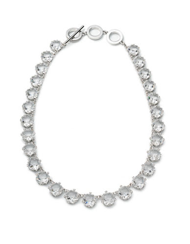 Carolee Crystal Abbey Large Hex Stone Collar Necklace-SILVER-One Size