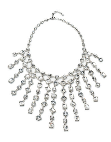 Carolee Crystal Abbey Crystal Bib Necklace-SILVER-One Size
