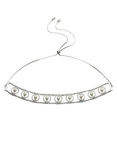 Carolee Pearl Manor 6MM Pearl and Crystal Adjustable Choker-WHITE-One Size