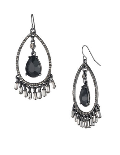 Carolee Midnight Tower Black Diamond and Crystal Open Teardrop Earrings-BLACK-One Size