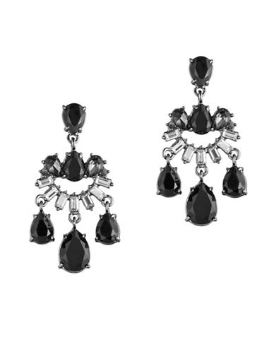 Carolee Midnight Tower Black Diamond and Crystal Mini Chandelier Earrings-BLACK-One Size