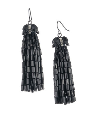Carolee Midnight Tower Crystal Tassel Earrings-BLACK-One Size