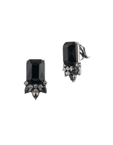 Carolee Midnight Tower Black Cluster Clip-On Earrings-BLACK-One Size