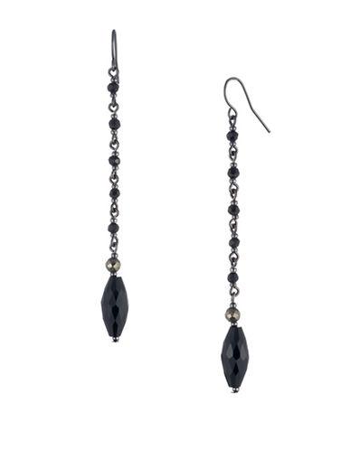 Lauren Ralph Lauren Jet Pyrite Beaded Linear Drop Earrings-BLACK-One Size