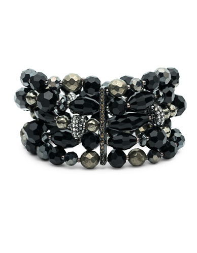 Lauren Ralph Lauren Crystal and Pyrite Multi-Row Beaded Stretch Bracelet-BLACK-One Size