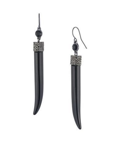 Lauren Ralph Lauren Crystal Pavé Cap Horn Drop Earrings-BLACK-One Size