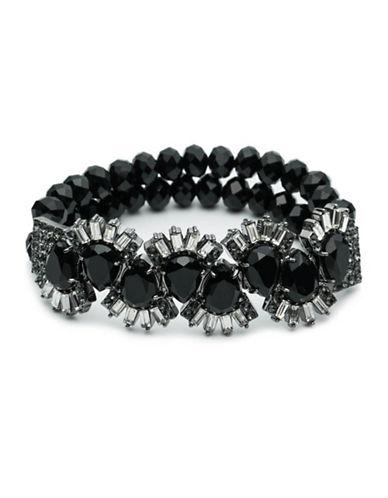 Carolee Midnight Tower Crystal Beaded Stretch Bracelet-BLACK-One Size