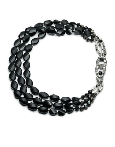 Carolee Midnight Tower Beaded Multi-Row Necklace-BLACK-One Size