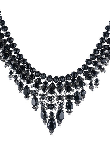 Carolee Midnight Tower Beaded Cascade Necklace-BLACK-One Size