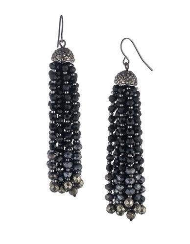 Lauren Ralph Lauren Crystal and Pyrite Beaded Tassel Earrings-BLACK-One Size