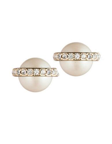 Carolee Majestic Faux Pearl Stud Earrings-SILVER-One Size