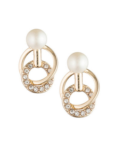 Carolee Majestic Faux Pearl Links Stud Earrings-SILVER-One Size