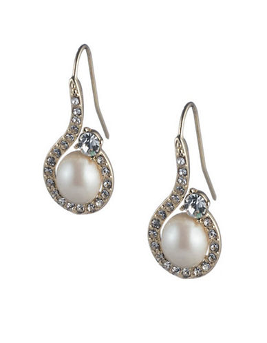 Carolee Majestic Faux Pearl Drop Earrings-SILVER-One Size