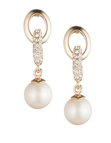Carolee Majestic Faux Pearl Links Drop Earrings-SILVER-One Size