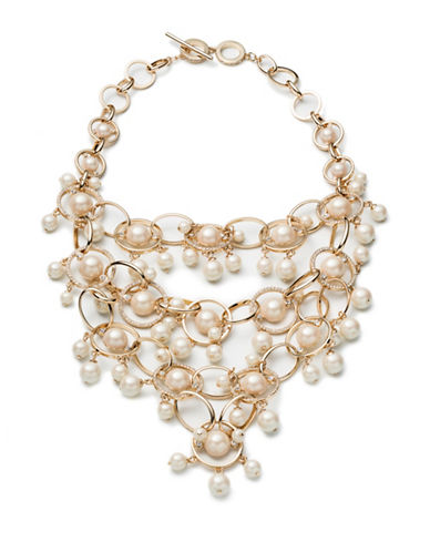 Carolee Majestic Pearl Bib Necklace-WHITE-One Size