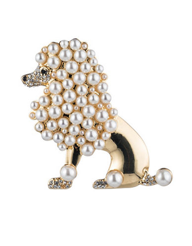 Carolee Royal Treasures Poodle Pin-WHITE-One Size