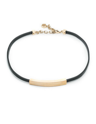 Trina Turk Curved Bar Leatherette Choker-BLACK-One Size