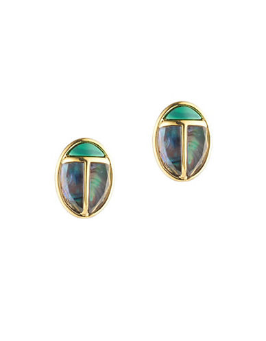 Trina Turk Sunset Ladybug Stud Earrings-GREEN-One Size