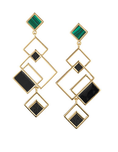 Trina Turk Sunset Hills Geometric Drop Earrings-BLACK-One Size