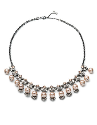 Carolee Queen of Gems Diamond, Pearl and Crystal Cluster Stone Choker-PINK-One Size