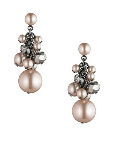 Carolee Queen of Gems Cluster Beaded Earrings-PINK-One Size