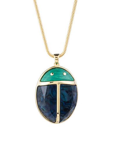 Trina Turk Sunset Ladybug Pendant Necklace-BLUE-One Size