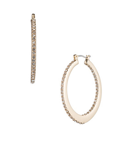 A.B.S. By Allen Schwartz Make Me Blush Pave Oval Hoop Earrings-GOLD-One Size