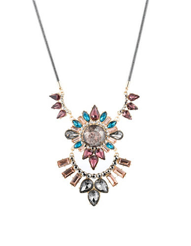 A.B.S. By Allen Schwartz Make Me Blush Multi Stone-Statement Necklace-GOLD/MULTI-One Size