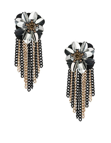 A.B.S. By Allen Schwartz Smoke and Mirrors Flower Fringe Drop Earrings-BLACK-One Size