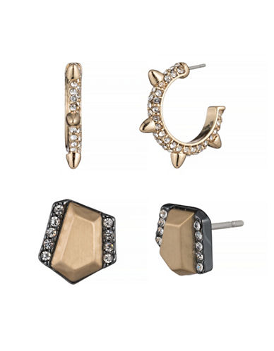 A.B.S. By Allen Schwartz Smoke and Mirrors Stud Earring Set-WHITE-One Size