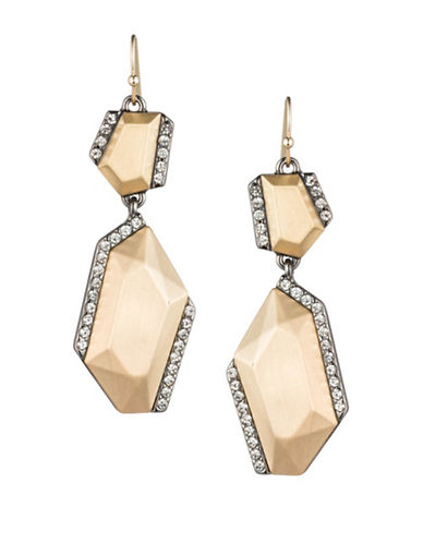 A.B.S. By Allen Schwartz Smoke and Mirrors Double Drop Earrings-GOLD-One Size