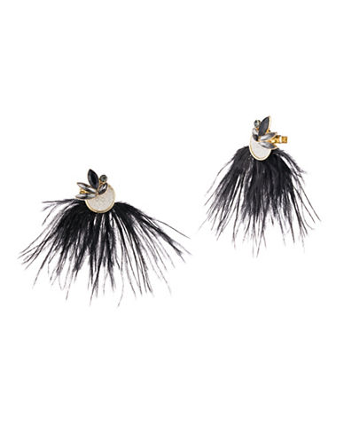 A.B.S. By Allen Schwartz Smoke and Mirrors Glittered Feather Stud Earrings-BLACK-One Size