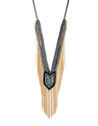 A.B.S. By Allen Schwartz Smoke and Mirrors Fringe Beaded Y-Necklace-BLACK-One Size