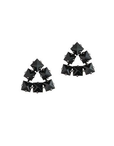 A.B.S. By Allen Schwartz Black Magic Triangle Stud Earrings-BLACK-One Size