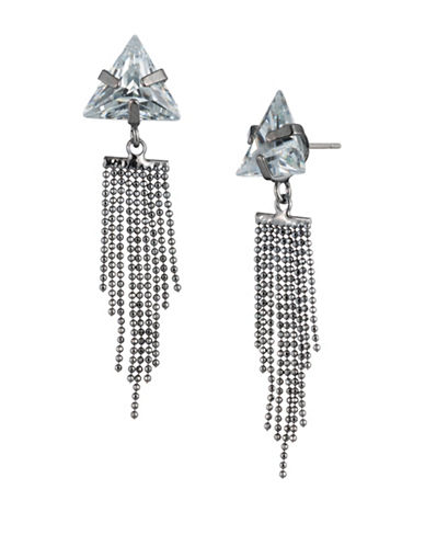A.B.S. By Allen Schwartz Black Magic Crystal Triangle Stone Fringe Stud Earrings-SILVER-One Size