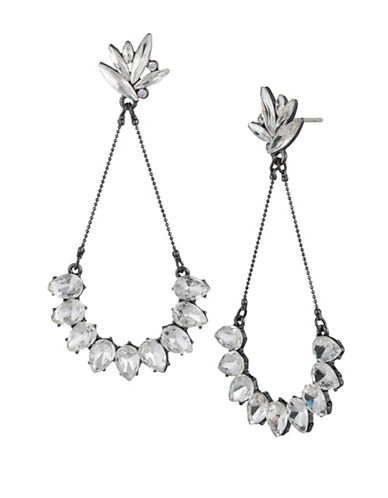A.B.S. By Allen Schwartz Black Magic Navette and Teardrop Drop Earrings-GREY-One Size