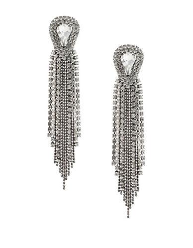 A.B.S. By Allen Schwartz Black Magic Crystal Fringe Dangle and Drop Earrings-SILVER-One Size