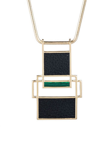 Trina Turk Sunset Hills Cutout Pendant Necklace-BLACK-One Size