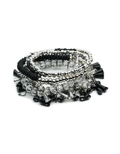 A.B.S. By Allen Schwartz Black Magic Six-Piece Beaded Stretch Bracelet Set-BLACK-One Size