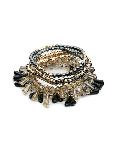 A.B.S. By Allen Schwartz Smoke and Mirrors Six-Piece Beaded Stretch Bracelet Set-BLACK-One Size