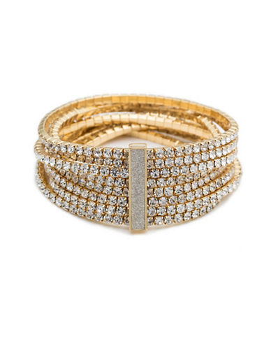 A.B.S. By Allen Schwartz Smoke and Mirrors Crystal Stretch Bracelet-GOLD-One Size