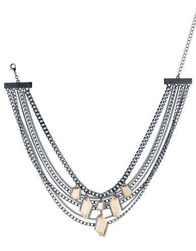 A.B.S. By Allen Schwartz Smoke and Mirrors Multi-Row Necklace-GREY-One Size