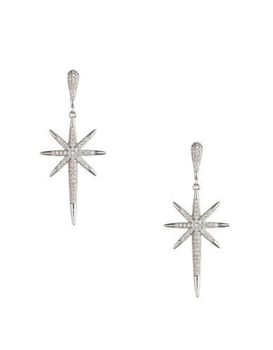 A.B.S. By Allen Schwartz Black Magic Crystal Pave Starburst Drop Earrings-SILVER-One Size
