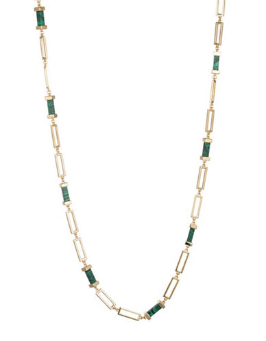 Trina Turk Sunset Hills Bar and Link Single Strand Necklace-GOLD-One Size
