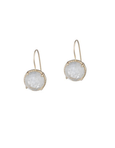 Lauren Ralph Lauren Round Stone Drop Earrings-WHITE-One Size