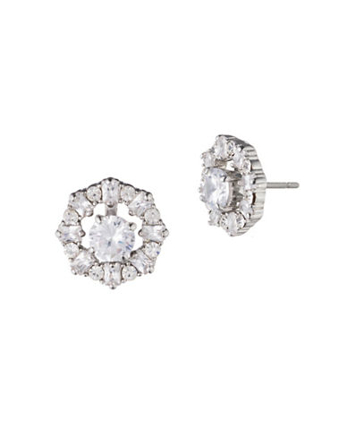Carolee Holiday Fling Crystal Three-In-One Convertible Button Drop Earrings-WHITE-One Size
