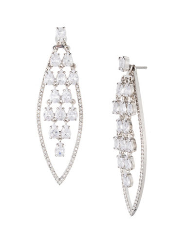 Carolee Holiday Fling Crystal Four-In-One Drama Kite Chandelier Earrings-WHITE-One Size