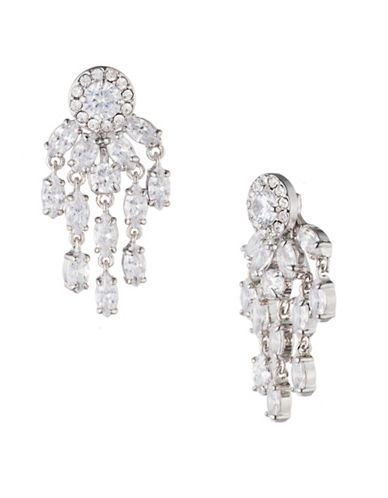 Carolee Holiday Fling Crystal Four-In-One Small Chandelier Earrings-WHITE-One Size