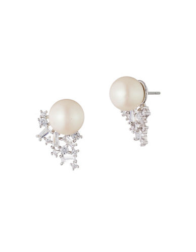 Carolee Pearl Premier Faux Pearl and Crystal Earrings-WHITE-One Size
